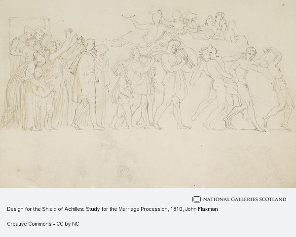 John Flaxman, Design for the Shield of Achilles: Study for the Marriage Procession