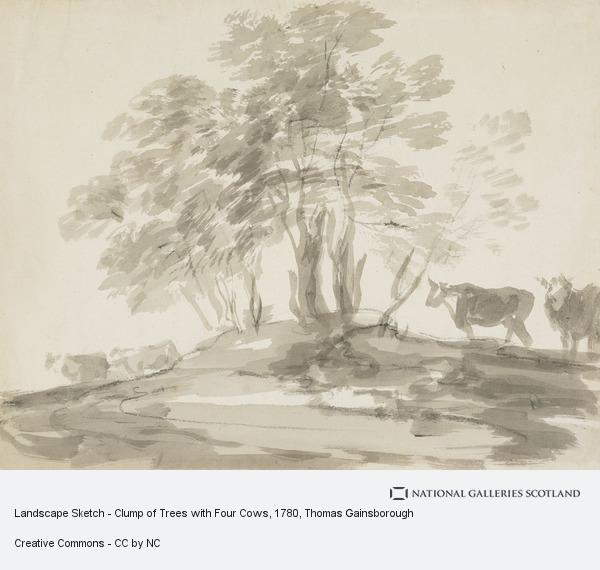 Thomas Gainsborough, Landscape Sketch - Clump of Trees with Four Cows