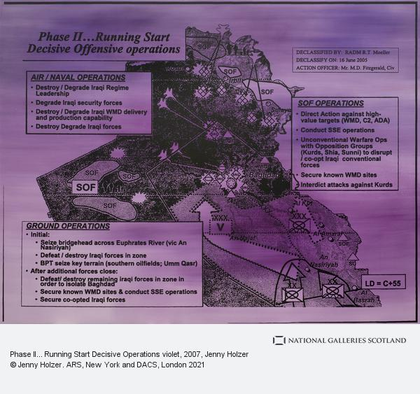 Jenny Holzer, Phase II... Running Start Decisive Operations violet (2007)