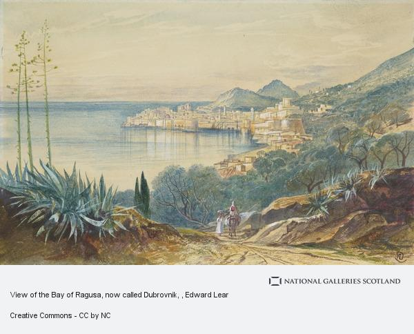 Edward Lear, View of the Bay of Ragusa, now called Dubrovnik