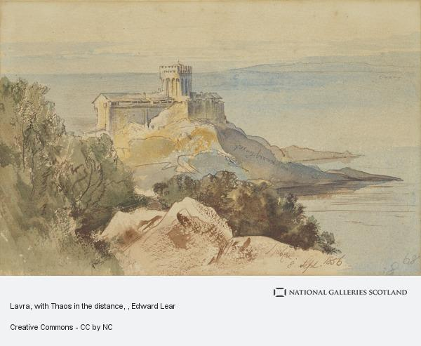 Edward Lear, Lavra, with Thaos in the distance