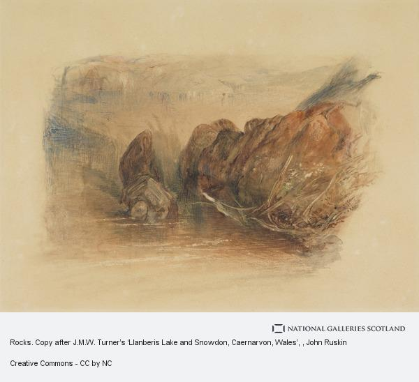 John Ruskin, Rocks. Copy after J.M.W. Turner's 'Llanberis Lake and Snowdon, Caernarvon, Wales'