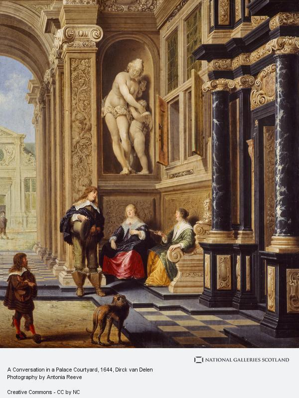 Dirck van Delen, A Conversation in a Palace Courtyard