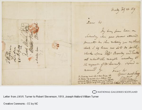 Joseph Mallord William Turner, Letter from J.M.W. Turner to Robert Stevenson