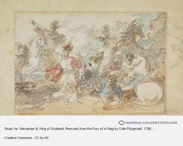 Benjamin West, Study for 'Alexander III, King of Scotland, Rescued from the Fury of a Stag by Colin Fitzgerald'