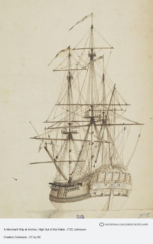 Unknown, A Merchant Ship at Anchor, High Out of the Water