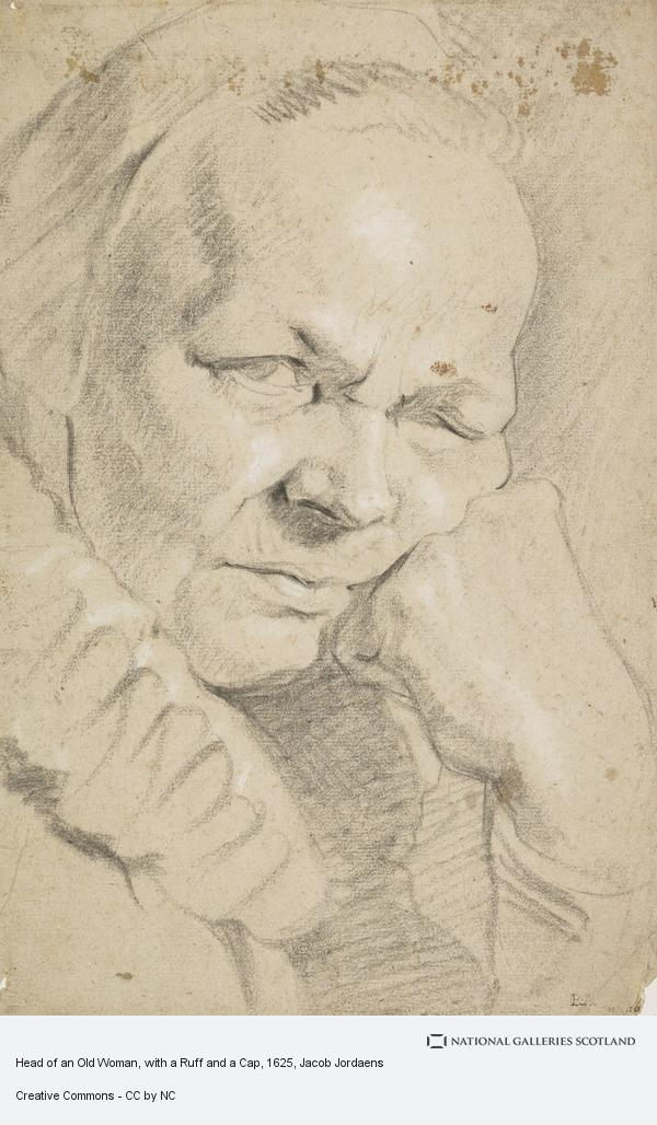 Jacob Jordaens, Head of an Old Woman, with a Ruff and a Cap