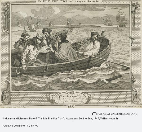 William Hogarth, Industry and Idleness, Plate 5: The Idle 'Prentice Turn'd Away and Sent to Sea