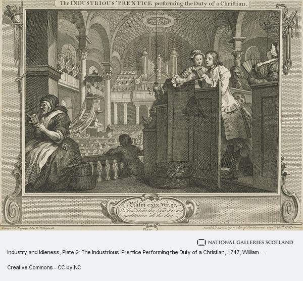 William Hogarth, Industry and Idleness, Plate 2: The Industrious 'Prentice Performing the Duty of a Christian