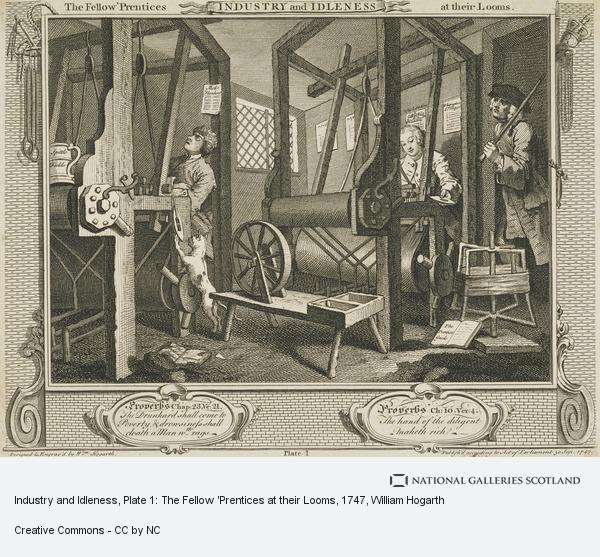 William Hogarth, Industry and Idleness, Plate 1: The Fellow 'Prentices at their Looms