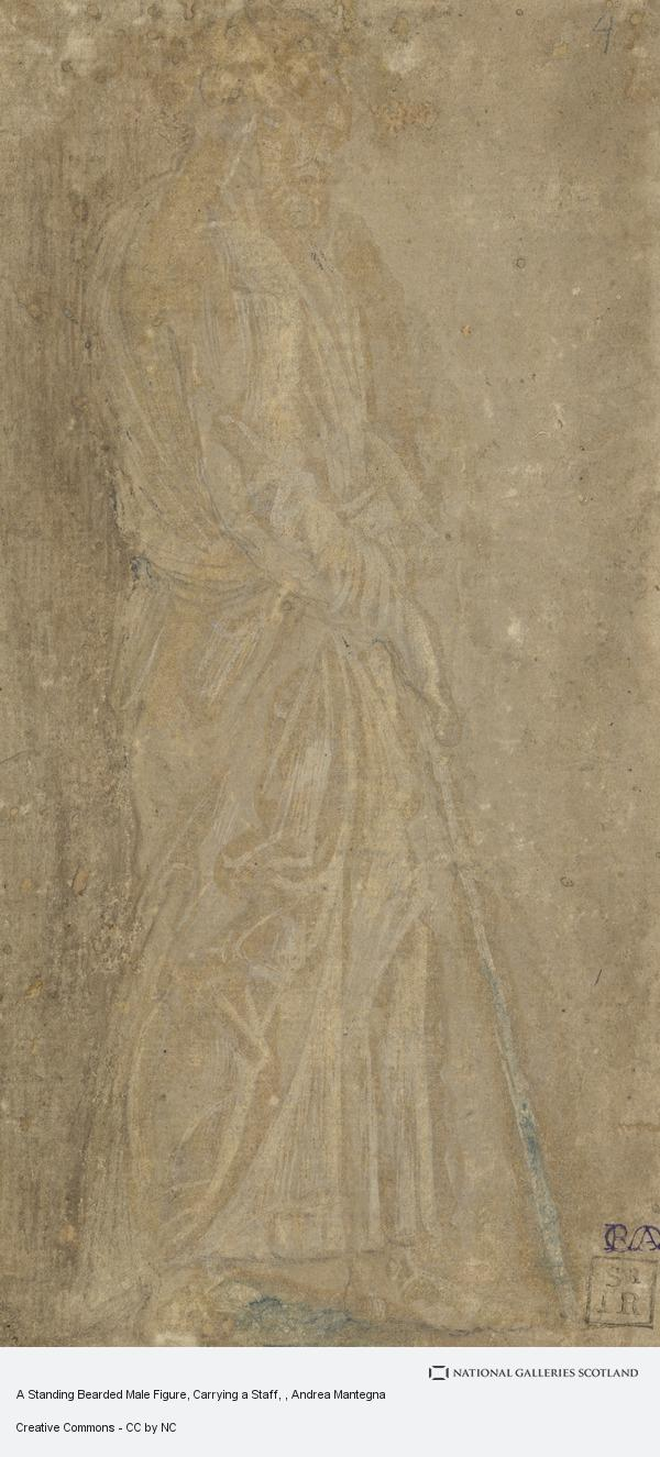 Andrea Mantegna, A Standing Bearded Male Figure, Carrying a Staff