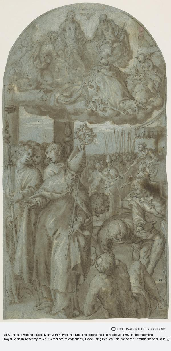 Pietro Malombra, St Stanislaus Raising a Dead Man, with St Hyacinth Kneeling before the Trinity Above