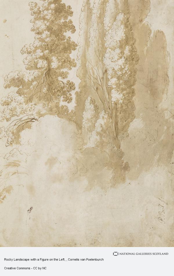 Cornelis van Poelenburgh, Rocky Landscape with a Figure on the Left