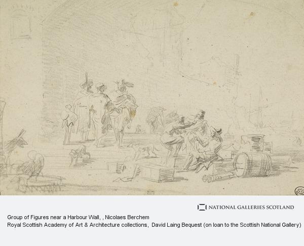 Nicolaes Pietersz. Berchem, Group of Figures near a Harbour Wall