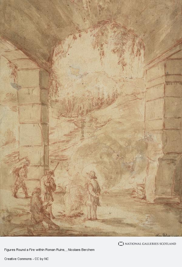 Nicolaes Berchem, Figures Round a Fire within Roman Ruins
