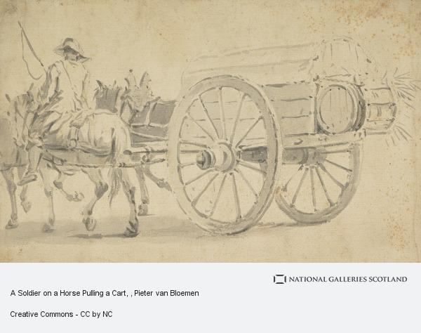 Pieter van Bloemen, A Soldier on a Horse Pulling a Cart