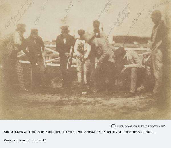 David Octavius Hill, Captain David Campbell, Allan Robertson, Tom Morris, Bob Andrews, Sir Hugh Playfair and Watty Alexander. 'St Andrews Golfers' [Group 62] (1843 – 1847)