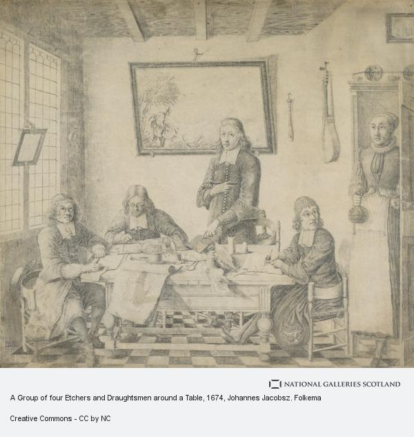 Johannes Jacobsz. Folkema, A Group of four Etchers and Draughtsmen around a Table (Dated 1674)