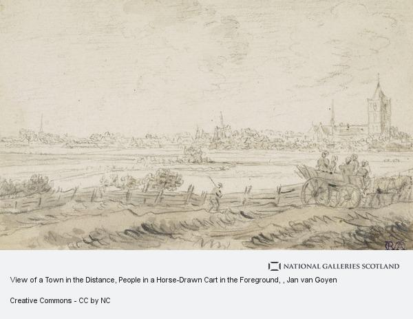 Jan van Goyen, View of a Town in the Distance, People in a Horse-Drawn Cart in the Foreground