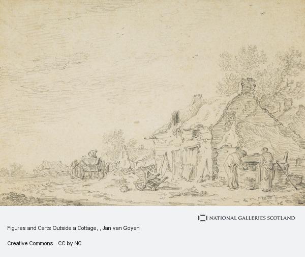 Jan van Goyen, Figures and Carts Outside a Cottage
