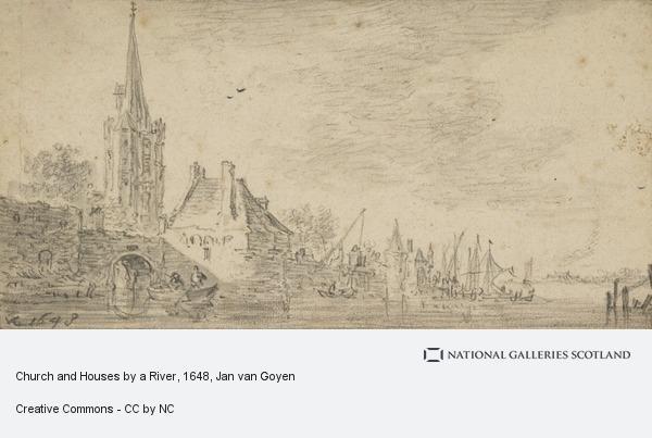 Jan van Goyen, Church and Houses by a River
