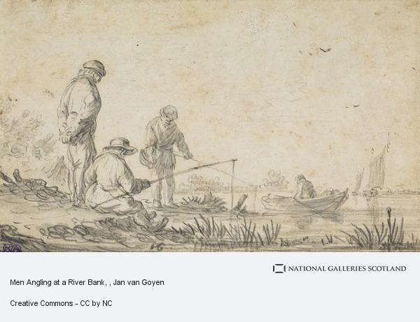 Jan van Goyen, Men Angling at a River Bank