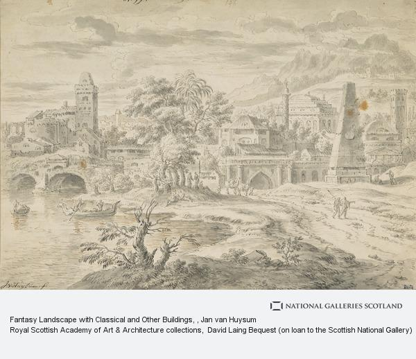 Jan van Huysum, Fantasy Landscape with Classical and Other Buildings