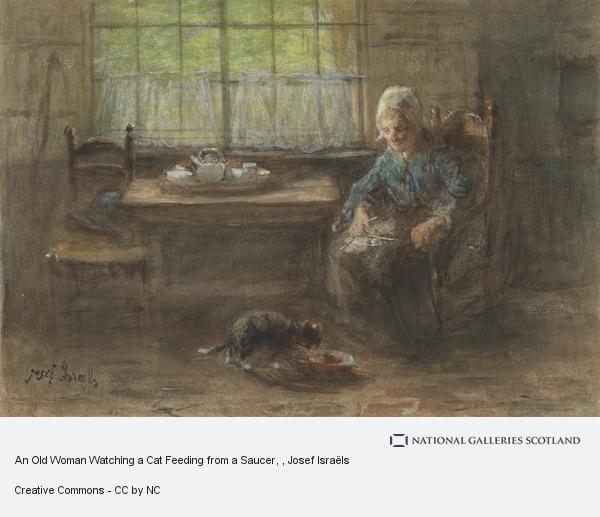 Josef Israëls, An Old Woman Watching a Cat Feeding from a Saucer