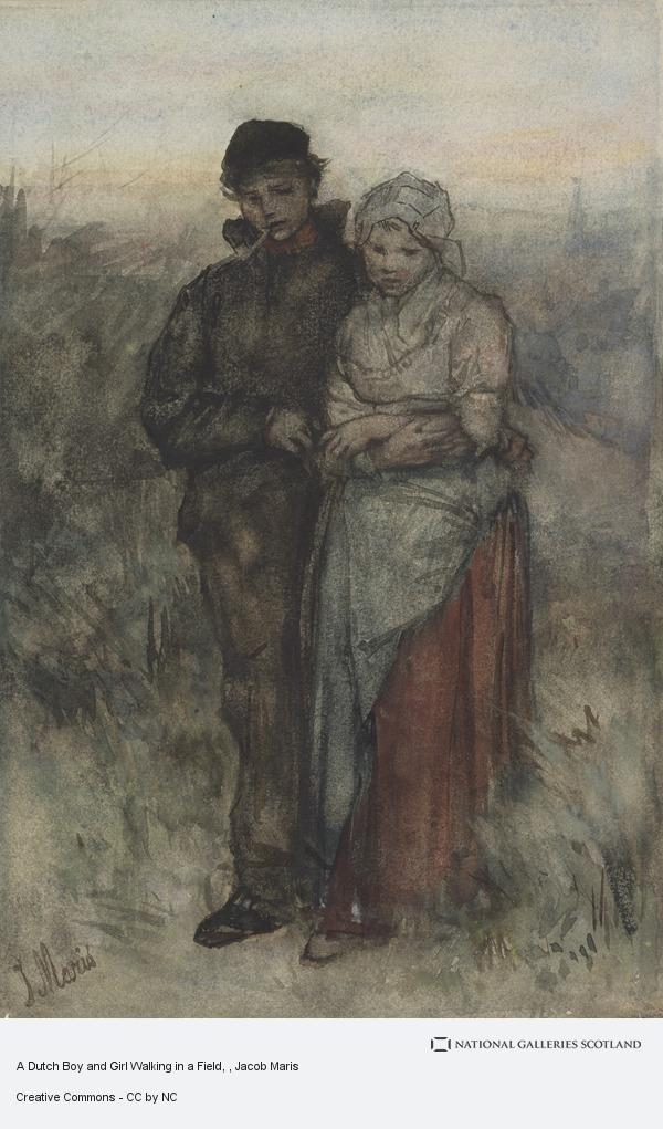 Jacob Maris, A Dutch Boy and Girl Walking in a Field