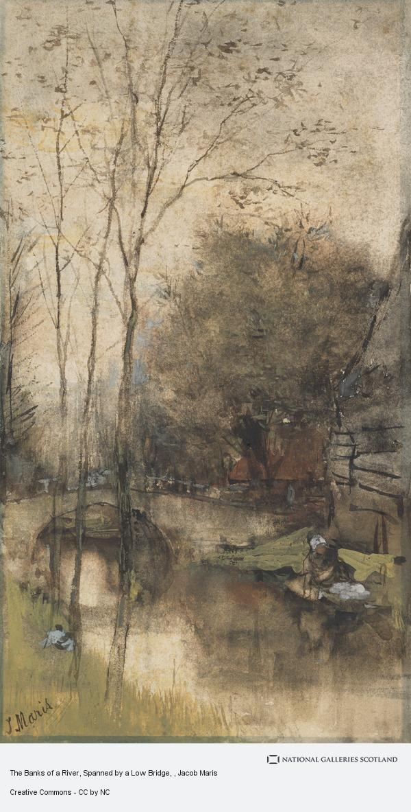 Jacob Maris, The Banks of a River, Spanned by a Low Bridge