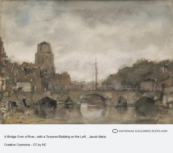 Jacob Maris, A Bridge Over a River, with a Towered Building on the Left