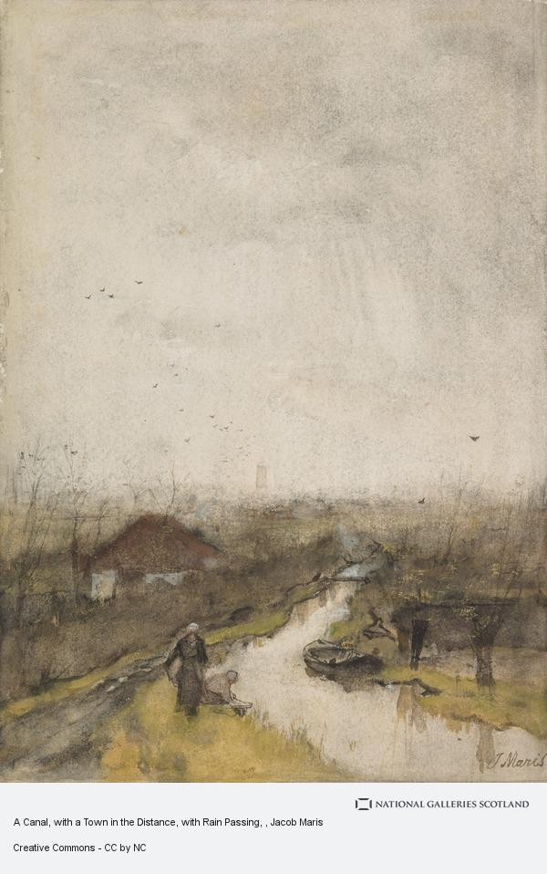 Jacob Maris, A Canal, with a Town in the Distance, with Rain Passing
