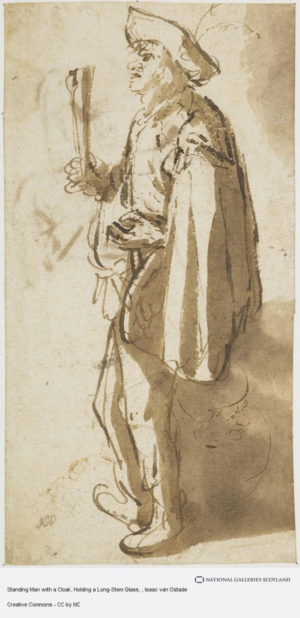 Isaac van Ostade, Standing Man with a Cloak, Holding a Long-Stem Glass