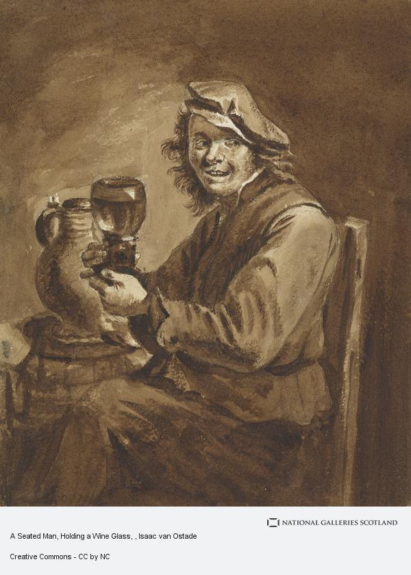 Isaac van Ostade, A Seated Man, Holding a Wine Glass