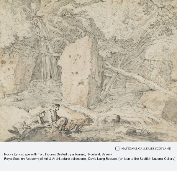 Roelandt Savery, Rocky Landscape with Two Figures Seated by a Torrent
