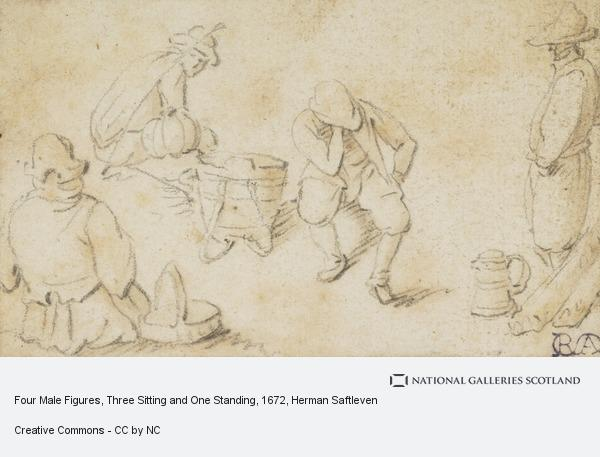 Herman Saftleven, Four Male Figures, Three Sitting and One Standing