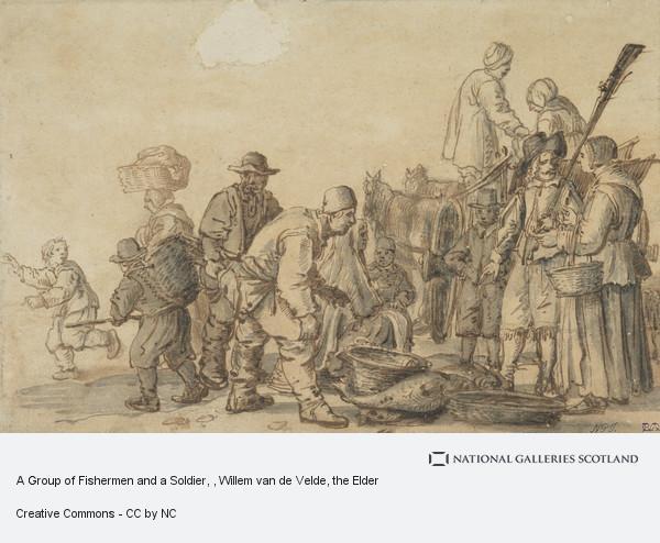 Willem van de Velde, the Elder, A Group of Fishermen and a Soldier