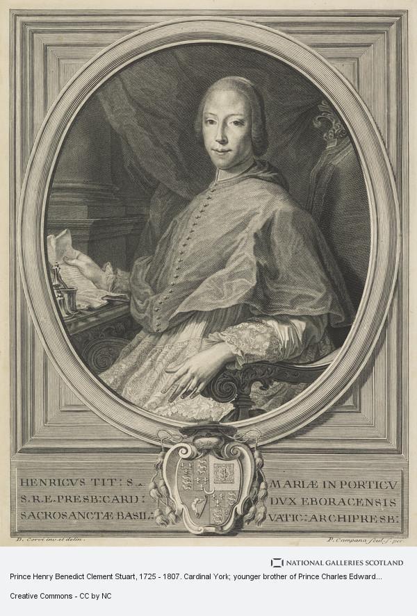 Pietro Campana, Prince Henry Benedict Clement Stuart, 1725 - 1807. Cardinal York; younger brother of Prince Charles Edward Stuart