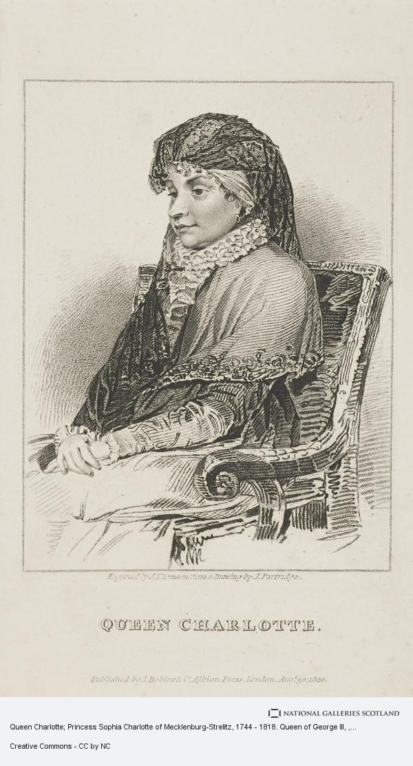 J. Thomson, Queen Charlotte; Princess Sophia Charlotte of Mecklenburg-Strelitz, 1744 - 1818. Queen of George III
