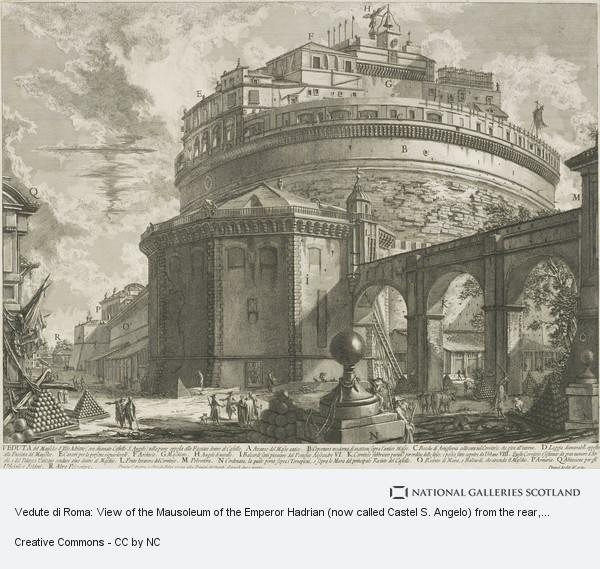 Giovanni Battista Piranesi, Vedute di Roma: View of the Mausoleum of the Emperor Hadrian (now called Castel S. Angelo) from the rear