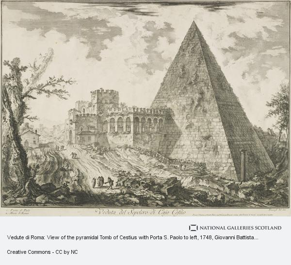 Giovanni Battista Piranesi, Vedute di Roma: View of the pyramidal Tomb of Cestius with Porta S. Paolo to left