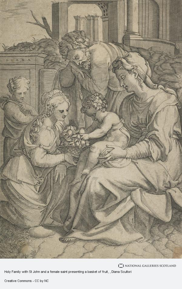 Diana Scultori, Holy Family with St John and a female saint presenting a basket of fruit