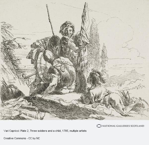 Giovanni Battista Tiepolo, Vari Capricci: Plate 2, Three soldiers and a child