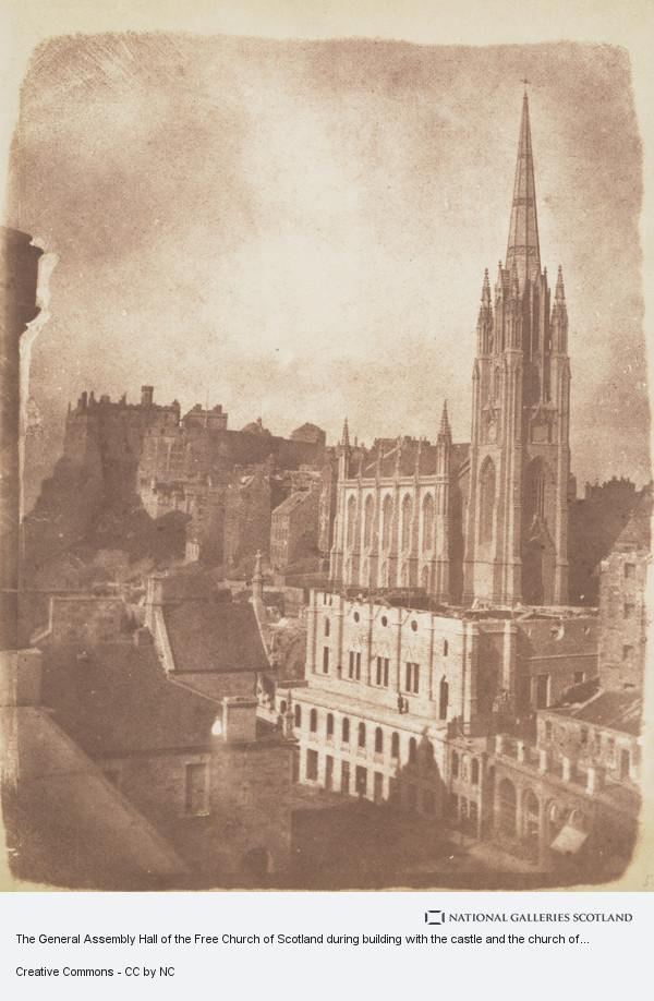 David Octavius Hill, The General Assembly Hall of the Free Church of Scotland during building with the castle and the church of Tolbooth St John in the background ...