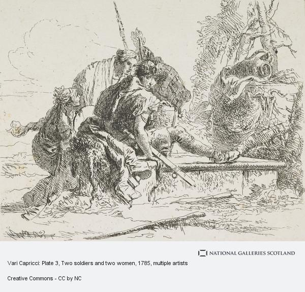 Giovanni Battista Tiepolo, Vari Capricci: Plate 3, Two soldiers and two women