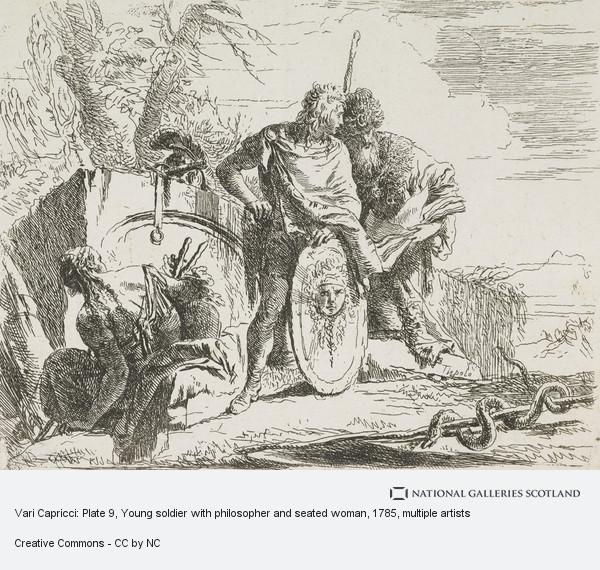 Giovanni Battista Tiepolo, Vari Capricci: Plate 9, Young soldier with philosopher and seated woman