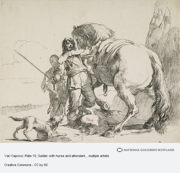 Giovanni Battista Tiepolo, Vari Capricci: Plate 10, Soldier with horse and attendant
