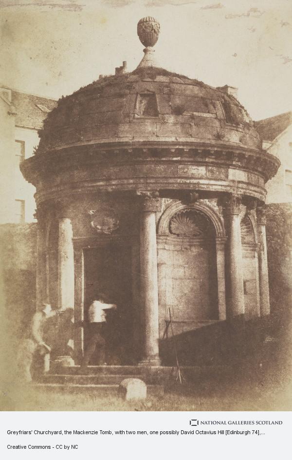 David Octavius Hill, Greyfriars' Churchyard, the Mackenzie Tomb, with two men, one possibly David Octavius Hill [Edinburgh 74]