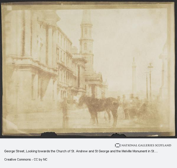 David Octavius Hill, George Street, Looking towards the Church of St. Andrew and St George and the Melville Monument in St. Andrew Square, Edinburgh