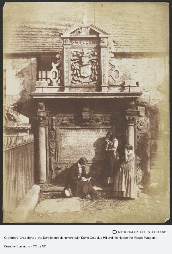 David Octavius Hill, Greyfriars' Churchyard, the Dennistoun monument with David Octavius Hill and his nieces the Misses Watson [Edinburgh 48]